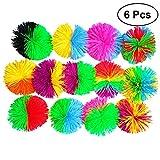 Toyvian Colorful Koosh Ball Palla Che rimbalza Fluffy Jugging Ball Sensory Fidgets Giocattolo Antistress 6pcs 6cm (Colore Casuale)