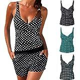 Femme Maillot De Bain 2 PièCes Dots Bikini Vintage Tankini Retro Bikini, Women Tankini Swimsuit Bikini Beachwear Swimwear Bathingsuit Padded Push Up Plus