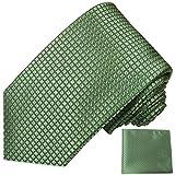 Paul Malone Cravatta di seta + fazzoletto matrimonio a scacchi verdi (Lunghezza normale, stretta o extra lunga)