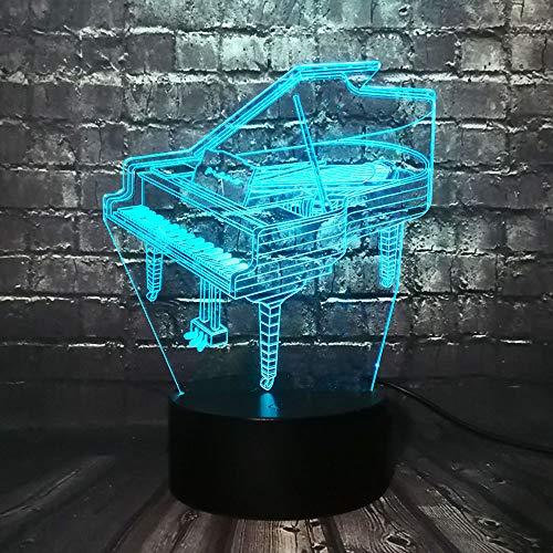 KangYD Retro Piano 3D LED Nachtlicht, Musiker Geschenk, Kind Schlafzimmer Dekor, Stimmungslampe, Neuheit, Nachttischlampe, F - Bluetooth Audio Base 5 Farbe