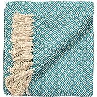 Manta tejida a mano para colcha o sofás color turquesa/azul diamante patrón de tejido 100 % algodón de 130x 180cm, comercio justo, TH136TQ