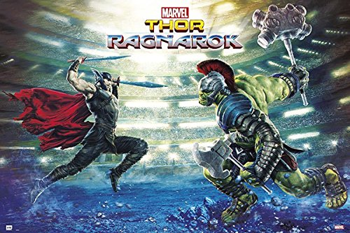 Close Up Marvel Thor Ragnarok Battle Poster (91,5cm x 61cm) + 2 St. transparente Posterleisten mit Aufhängung