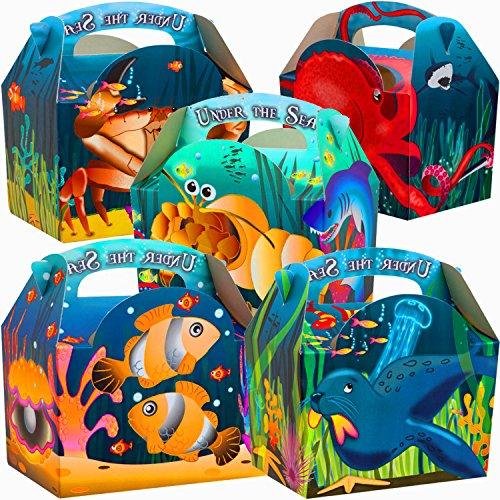 German Trendseller® - 12 x Sea Life Party Boxen mit Griff zum Befüllen ┃ Kindergeburtstag ┃ Mitgebsel (Kinder Roben Boxen)