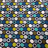Stoff Baumwolle Softshell blau grün grau Kreise Punkte