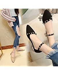 Xue Qiqi Zapatos de Mujer Social con una Base Plana, Elegante y versátil Remache Sandalias de Punta Plana con...