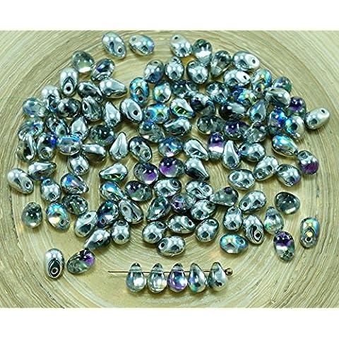 40pcs d'Argento di Cristallo Arcobaleno di Vetro ceco Piccola Goccia Perline 4mm x 6mm