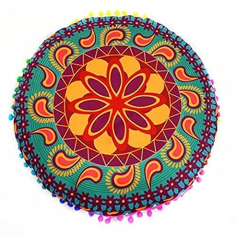 Zjene nouveaux Mode indien Mandala Sol oreillers rond Bohème Coussin Coussins oreillers Coque, C, 43*43cm/(17.0*17.0
