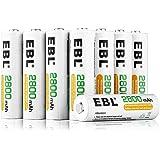 EBL 2800mAh AA de Alta Capacidad Ni-MH 1200 Ciclo de Pilas Recargables para los Equipos Domésticos con Estuches de Almacenami
