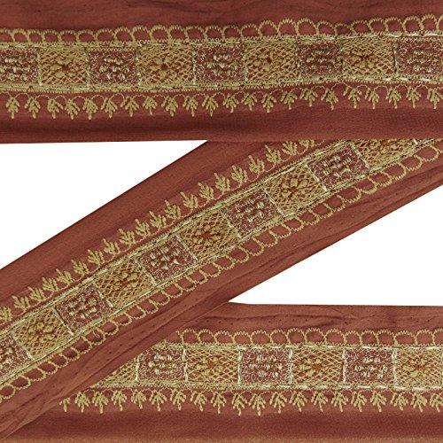 Indian Jahrgang Brown gestickte Border Antike Nähen Sari Trim 1YD Ribbon (Gestickte Ribbon Trim)