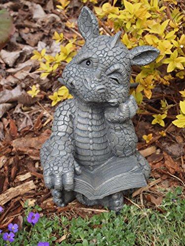 Süsser Gartendrache liest ein Buch Drache Figur Gargoyle Gargoyle Figur