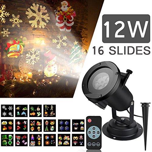 LED Proyector Luces de Navidad, SIEGES Impermeable Multicolor Lámpara de Proyección con 16 Lentes Intercambiables, Luces del Paisaje con Wireless Control Remoto, Proyector de Copo de Nieve Spotlight L