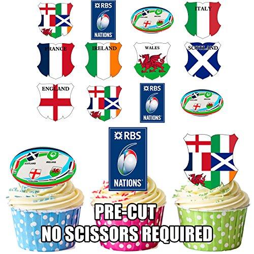 Rugby Six Nations Party Pack, Kuchen-Dekorationen–essbare Kuchendeko (36Stück) (Pack Rugby)