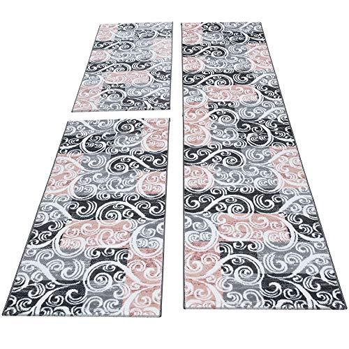 HomebyHome Moderner Kariert Design Konturschnitt Teppich 3TLG Bettumrandung Läufer Set Schlafzimmer Flur Geometrisch Patchwork Pink Grau Weiss meliert, Bettset:2 x 80x150 cm + 1 x 80x300 cm