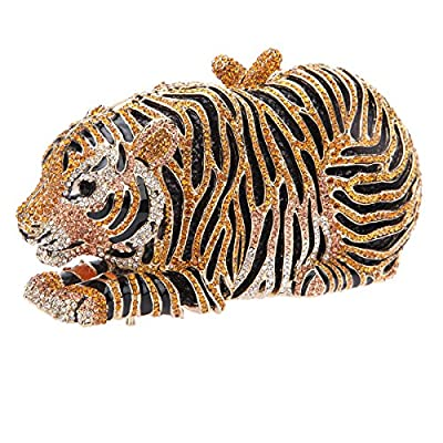 Bonjanvye Big Tiger Clutch Purse Bling Studded Glitter Clutch Evening Bag