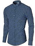 MODERNO Herren Hemd Bedruckt - Slim Fit, Stehkragen (MOD1805LS) Dunkelblau EU XL