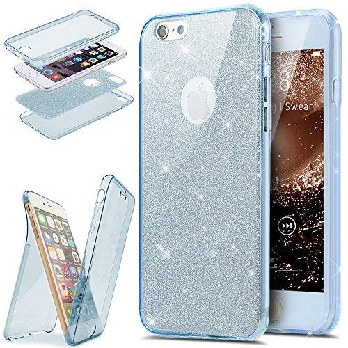 Coque iPhone 6S,Coque iPhone 6,Coque iPhone 6S / 6 Étui,ikasus® Coque iPhone 6S / 6 Étui de protection complet avant + arrière 360 degrés Étui en silicone souple Bling Pétillant Brillant Briller Houss Briller:Bleu