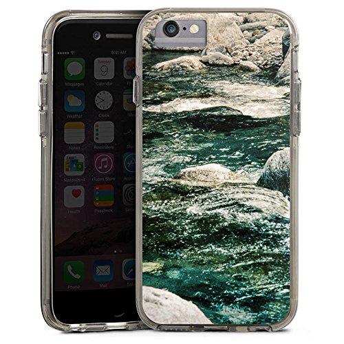 Apple iPhone 6 Bumper Hülle Bumper Case Glitzer Hülle Fels Stones Steine Bumper Case transparent grau