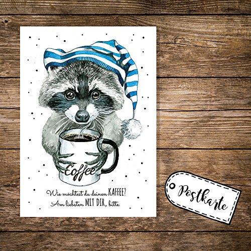 ilka-parey-wandtattoo-weltr-a6-postkarte-karte-waschbar-mit-schlafmutze-kaffeebecher-und-spruch-kaff