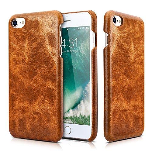 iPhone 8 iPhone 7 Ledertasche Hülle, Icarer Echtleder Premium Leder Abnehmbar 2 in 1 Brieftasche Handytasche Leder Hülle Case für Apple iPhone 7 2016 iPhone 8 2017 4,7 Zool (Braun) Braun