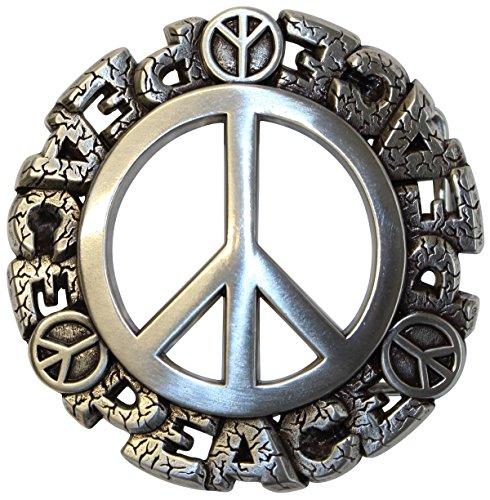 Brazil Lederwaren Gürtelschließe Peace 4,0 cm | Buckle Wechselschließe Gürtelschnalle 40mm Massiv | Für Wechselgürtel bis zu 4cm Breite - Jeans Peace-zeichen