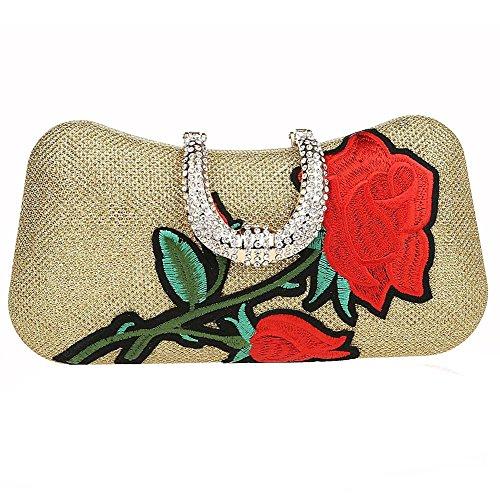 borsa da sera per donna con strass ricamata a mano borsa da pranzo con frizione per feste. 21 x 11 x4cm . champagne . one size gold