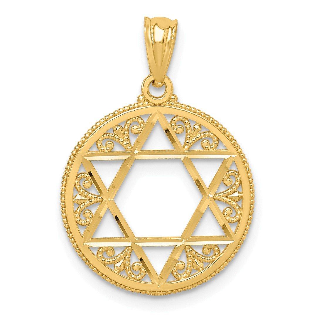 14k Yellow Gold Filigree Jewish Jewellery Star Of David Pendant Charm Necklace Religious Judaica Fine Jewellery For…
