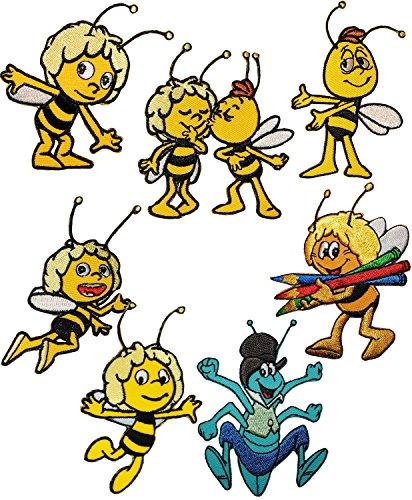 alles-meine.de GmbH 2 Stück _ Verschiedene Bügelbilder -  die kleine Biene Maja & Freunde - Motiv Mix  - 6 cm * 7,8 cm - Aufnäher & Applikation - gewebter Flicken - Bügelflicke.. -