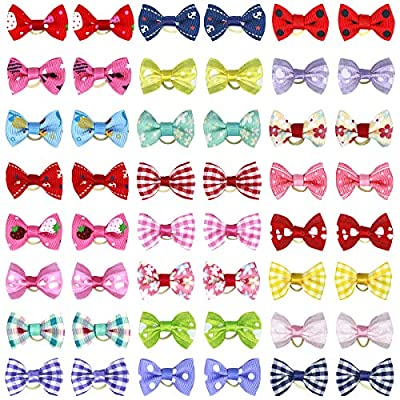 NATUCE 50 Pcs Dog Hair Bows, Pet Hair Accessory, Pet Hair Bows Tie with Rubber Bands for Cat Puppy, Topknot Grooming accessory from NATUCE