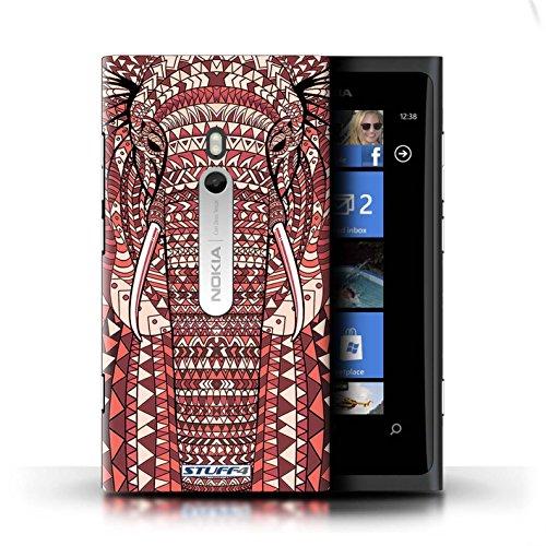 Coque en plastique pour Nokia Lumia 800 Collection Motif Animaux Aztec - Hibou-Couleur éléphant-Rouge