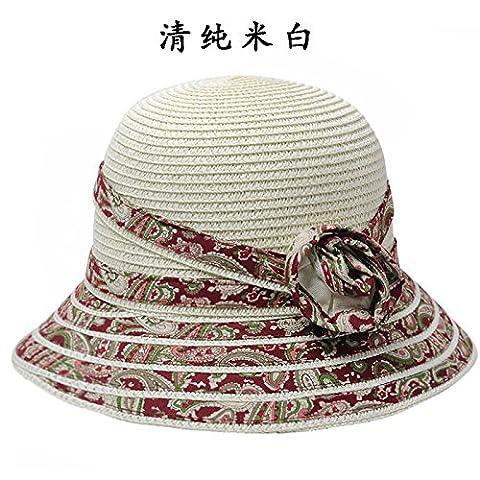 DSAAA chapeaux de soleil Mesdames La Plage Le Soleil Cap Pliable Pots De Fleurs Cap La Taille Peut Être Ajustée Blanc