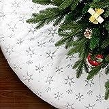 SAVITA 48 Zoll Baumdecke Weihnachtsbaum, Weihnachtsbaumrock, Weich Schneewittchen Christbaumdecke mit Schneeflocken auf der Oberfläche Perfekt Weihnachtsbaum Dekor -