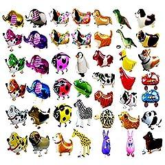 Idea Regalo - 20pcs Animali a Piedi Palloncini Animali, Aerostati aerostatici, Foglio di Mylar Elio Palloncino in Alluminio Kit per Bambini Festa di Compleanno Baby Shower Decor Regalo per Bambini