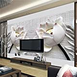 Chlwx 400cmX280cm (157.5inX110.267in) Foto Tapete Wand Malerei Moderne Kunst Papier 3D-Tv-Vertrag Sitzen White Lotus Blumen Großes Wandbild Tapeten