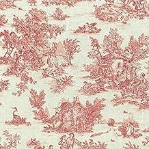 Tela Toile de jouy La Vie Rustique (Rojo Antiguo Sobre un Fondo de