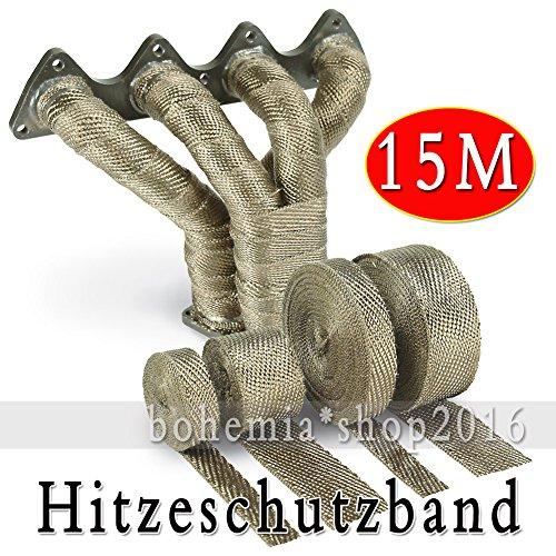 EMOTREE 15M Auto Motorrad Auspuff Hitzeschutzband Band bis 1400° Heat Wrap Krümmer mit 15 Metall Kabelbinder Titan