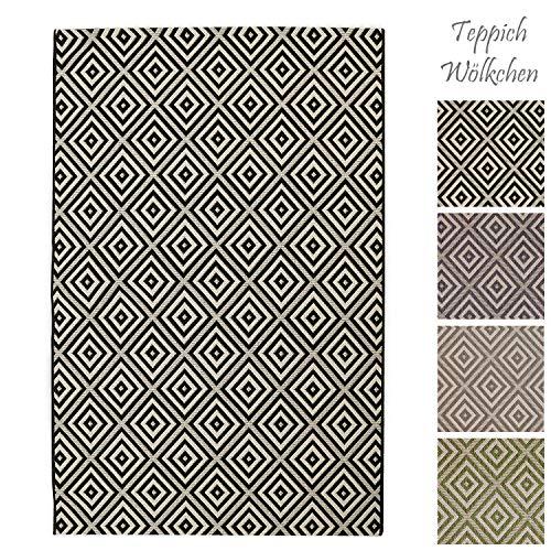 Teppich Wölkchen Outdoor-Teppiche für Draußen | Balkon Terrasse Garten Küche | Wetterfest Wasserfest und UV-Beständig mit ÖKO-TEX 100 | Dunkelgrau - Raute - 120 x 170 cm