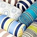 Kreise, Blau/Gelb, wasserdicht, für Garten, rund, Armlehne Nackenrolle Kissen gefüllt von Gardenista auf Gartenmöbel von Du und Dein Garten