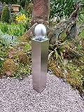 Edelstahl Säule V2A Säule 60cm mit 100mm Edelstahlkugel Garten Deko Stele Hochwertige Handarbeit