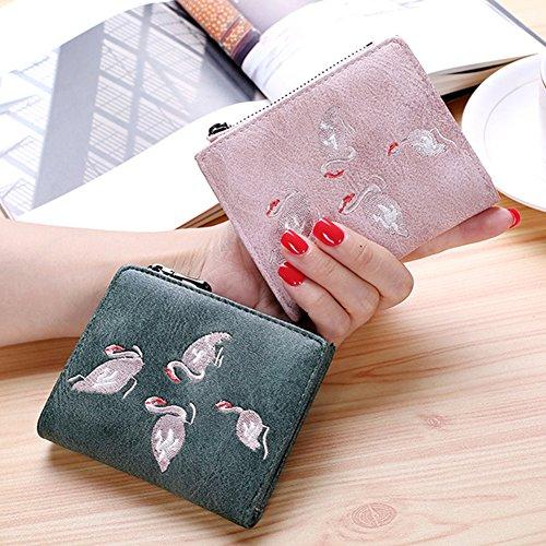 Woolala Ins Hot Flamingo Piccolo Portafoglio Ricama Bifold Cash Cards Organizzatore Holder Borsa Corta Con Zip Coin Pocket, Pink Pink