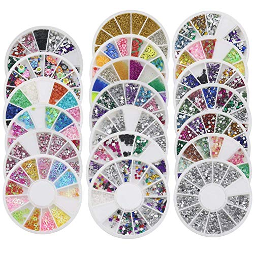 TOOGOO 20 x Roue Ongle Art Conseils Perle Perles Strass Ongle 3D Des Autocollants