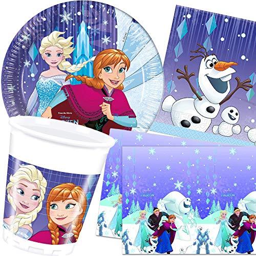 Procos/Carpeta 62-TLG. Party-Set * Frozen - Snowflakes * mit Teller + Becher + Servietten + Tischdecke | Deko Kinder Geburtstag Motto ELSA Eiskönigin Disney Anna