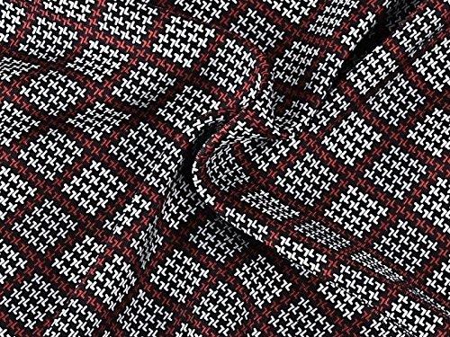 Prettystern - 2 plis longue 100% Echarpe SOIE Hommes - crêpe satin soie et velours de soie - sélection de couleur douce et chaude et 5. géométrie Rouge