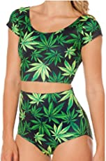 Kaamastra Women's Two Piece Marijuana Swimsuit(KA_LB16161,Green,Freesize)