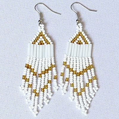 Boucles d'oreilles petit chandelier en perles Sud Africain Zoulou - Blanc et doré