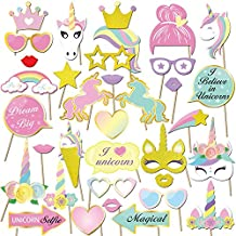 Konsait Unicornio DIY Photo Booth Props Cumpleaños cabina de fotos accesorios Photocall máscaras Gafas en Palos para Niños niñas Regalo unicornio decoraciones de fiesta de cumpleaños (35 pcs)