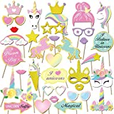 35 Pcs Unicorno photo booth puntelli, Konsait Unicorno party photo booth props Accessori fai da te Kit Foto Props Divertente Maschere Occhiali per bambini bambina Ragazza compleanno decorazione Regalo