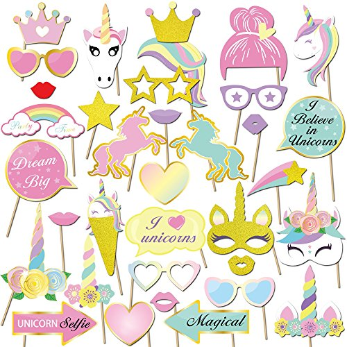 torequisiten & Fotoaccessoires Einhorn Photo Booth Props DIY Kit Brillen Masken für einhorn party deko kindergeburtstag Zubehör (Unicorn Party Supplies)