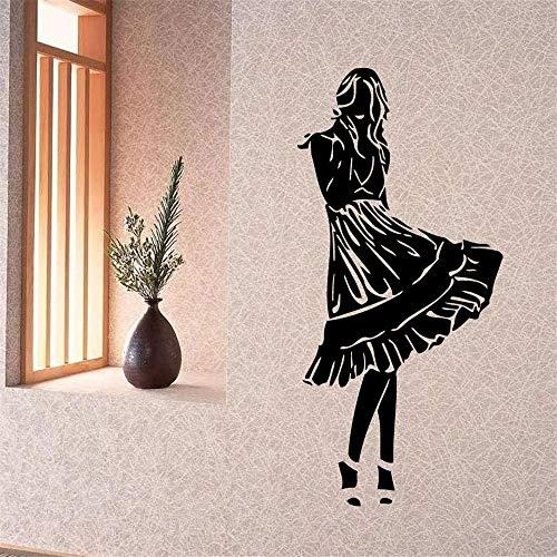 zlhcich Wandtattoos Vinyl Aufkleber Aufkleber Kunstwanddekor Schönes Mädchen Kleid Design57 * 114 cm
