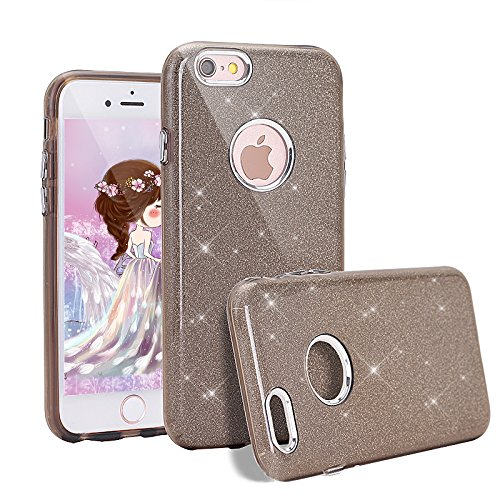 Coque iphone 6S, Herbests iphone 6 Coque Ultra Slim Cristal Brillant Glitter PC Cover, 3 in 1 Housse Etui de Protection Bumper Case Cover Premium [Anti Choc] [Ultra Fine] [Ultra Mince] [Liquid Crystal] [Exact Fit] pour iPhone 6/6S 4.7-Galvanisieren Gris