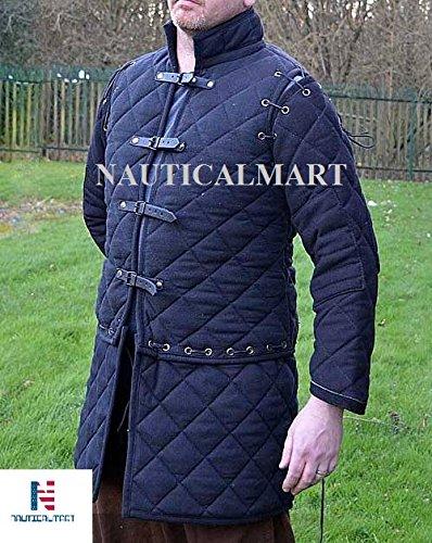 nauticalmart Archer Gambeson abnehmbaren Ärmeln Hallowen Kostüm (schwarz)–Erwachsene (Fechten Kostüm Schwarz)